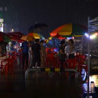 Rainy fish dinner on the waterfront